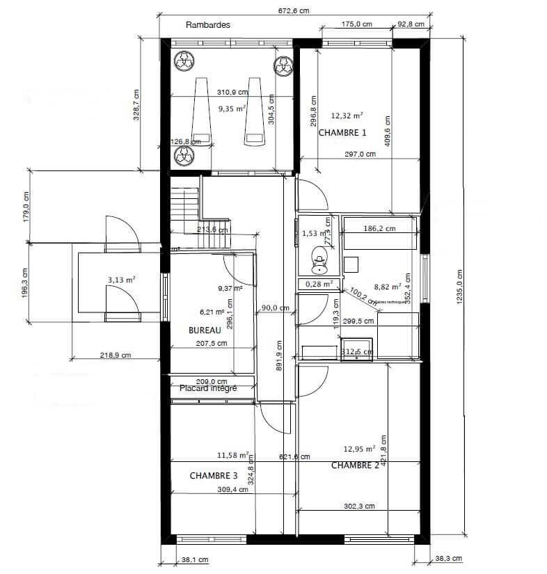 Plan de la surélévation d'une maison
